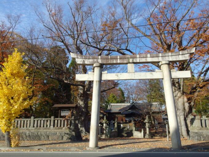 11月中旬の須坂秋の気配漂う墨坂神社芝宮